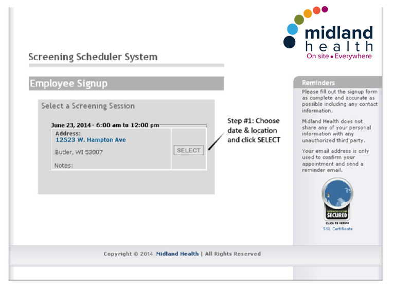 Midland Health Screening Scheduler System