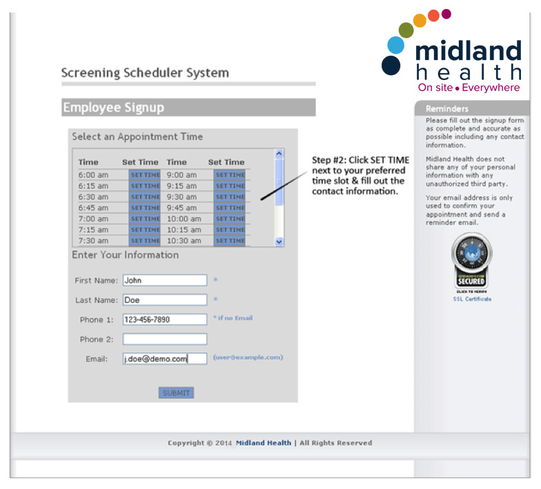 Midland Health Screening Scheduler System Employee Signup
