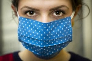 Woman Wearing Mask Because of Covid-19